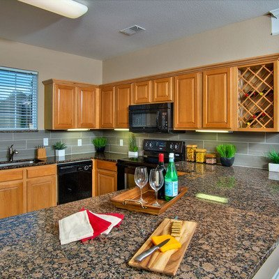 Granite countertops and wine refrigerators