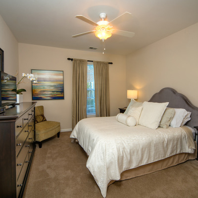 large bedroom with carpet